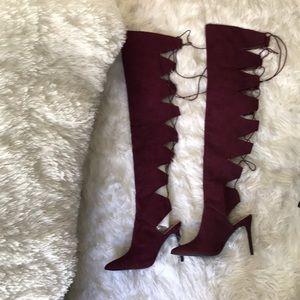 Thigh high heel suede dark purple boots!